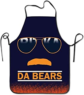 Da Bears Chicago Windy City Mustache Glasses Machine Washable Durable String Apron For Women&Men BBQ,Cooking,Working,Grilling,Baking,Crafting