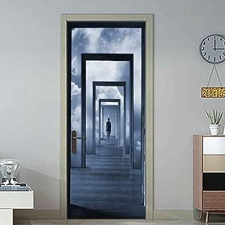 3D Door Decal Door Stickers Decor Door Mural Removable Vinyl Door Wall Mural Door Wallpaper for Home Decor 30.3x78.7 (Illusory Door)