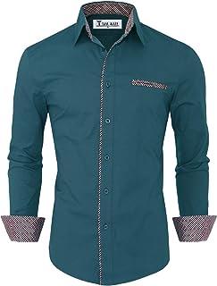 Mens Premium Casual Inner Contrast Dress Shirt