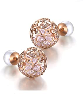 Women's Double Sided Front Back Ball Stud Earrings Pearl Crystal Hollow Rose Flower Balls Stud