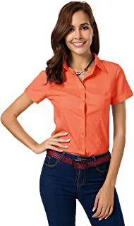 JMSHIHUA Womens Basic Simple Long/Short Sleeve Button Down Shirt,Official Ladies Blouse Dress Shirts for Women