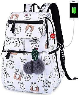 WSJTT School Bags for Girls Female Laptop Backpack USB Backbag Children Backpacks Cute Cat School Backpack for Girls Bag P...