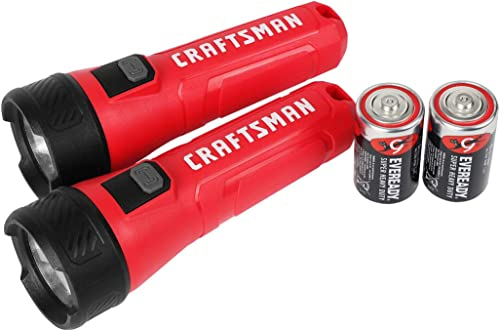 high quality Craftsman 2 Pack LED Flashlight, 70M Beam sale Distance, Water popular Resistant, Plastic Handheld Torch Light for Emergency, Home, Outdoor, Camping, Hunting, Fishing, Repairing, 1D Battery Included online sale