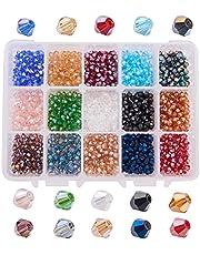 PandaHall Elite 1560 Pcs Cuentas Cristal, Cuentas Bisutería Abalorio Coloridas Joyería DIY Pulsera Collar Pendientes 15 Colores Mxitos, Facetado, 4x4 mm, Agujero: 1 mm