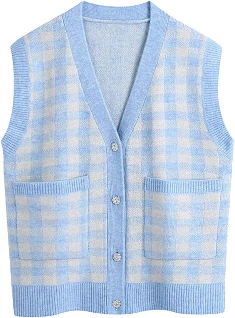 Women Fashion Oversized Check Knitted Vest Sweater Vintage V Neck Rhinestone Button Female Waistcoat Chic Tops