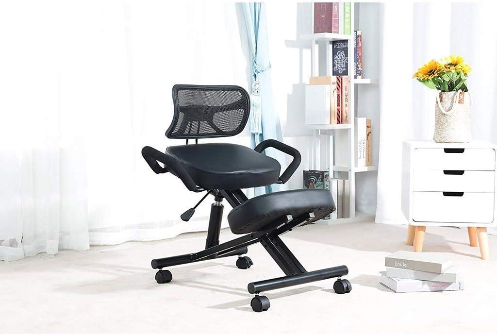 AYHa Agenouillé Chaises orthopédique Tabouret ergonomique Chaises de bureau - haut réglable, avec le dos Supportwith Poulie,Bleu Bleu
