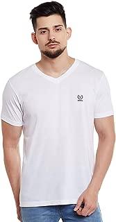 VIMAL Jonney White V Neck Cotton Tshirt for Men(Pack of 1)-VEE-WHITE01-P