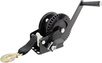 ABN Come Along Hand Crank Winch with Boat Winch Strap and Hook – Single Gear 1,200 lbs – ATV, Boat Trailer Winch