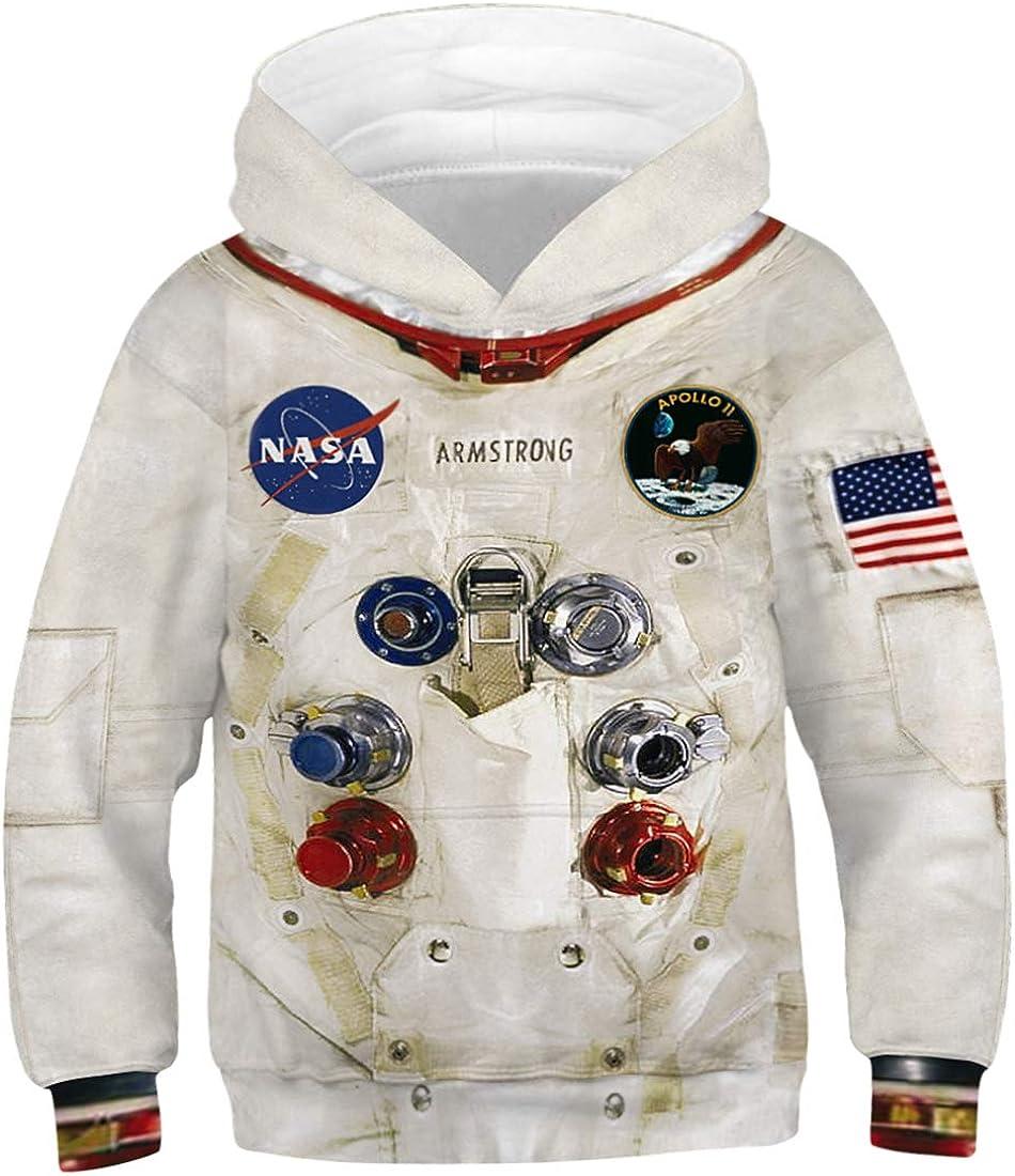 bettydom Boy's Fashion Hoodies 3D Printed Animals Galaxy Pattern Sweatshirt with Pockets Pullover