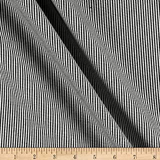 Carr Textile 10 Oz Narrow Railroad Stripe Denim Fabric, Black, Fabric By The Yard