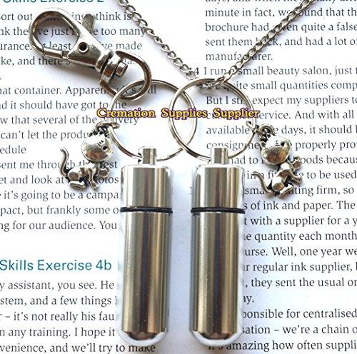 Halskette mit Urnen-Anhänger und Schlüsselanhänger, für Katze, Einäscherung, Schmuck, Asche, Medaillon für Katzen.