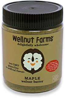 Wellnut Farms Creamy Walnut Butter, Maple, 11 Ounce, Gluten Free, Keto Friendly, Omega 3, Vegan