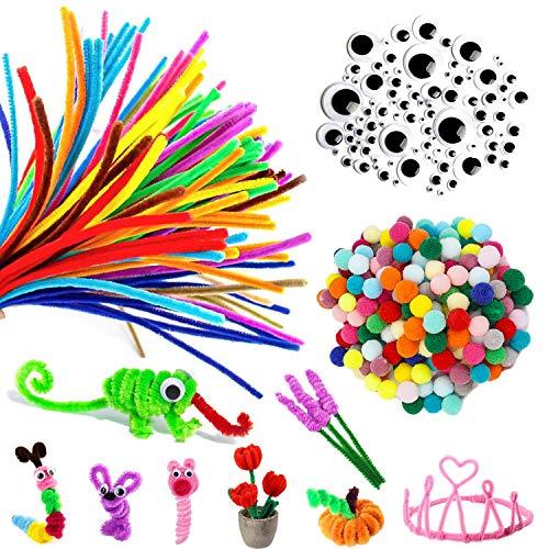 Limpiapipas de colores 200 piezas, alambre de chenilla con felpa flexible 100 piezas, ojos temblorosos 100 piezas, kit de manualidades para niños, Halloween, Navidad, suministros para fiestas