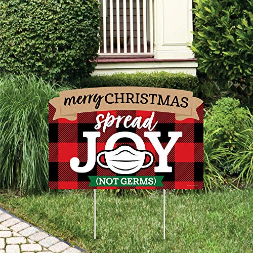 Big Dot of Happiness 2020 Quarantine Christmas - Holiday Party Yard Sign Lawn Decorations - Merry Christmas Spread Joy Not Germs Party Yardy Sign