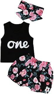 Verano Recien Nacido Niña Camiseta sin Mangas Y Pantalones Cortos de Flores con Banda de Pelo