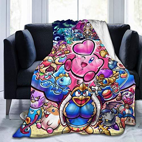 Kirby's Adventure Time Game Decke, ultraweich, bequem, Flanelldecke, mittelgroß, für Zimmer, warm, Schlafzimmer, Sofa, Reisen, für Erwachsene, Kinder, Größe 127 x 101 cm