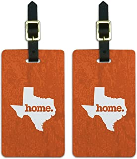 Texas TX Home State Luggage Suitcase ID Tags Set of 2 - Textured Orange