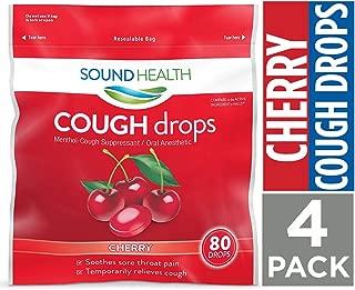 SoundHealth Cherry Cough Drops,Throat Lozenge,Cough Suppressant, 80Count Bag, 4 Pack