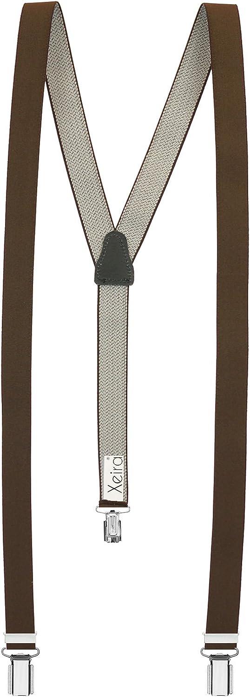 Xeira Damen Hosentr/äger mit 3 Klips und Echt Leder R/ückenteil 25mm Breit