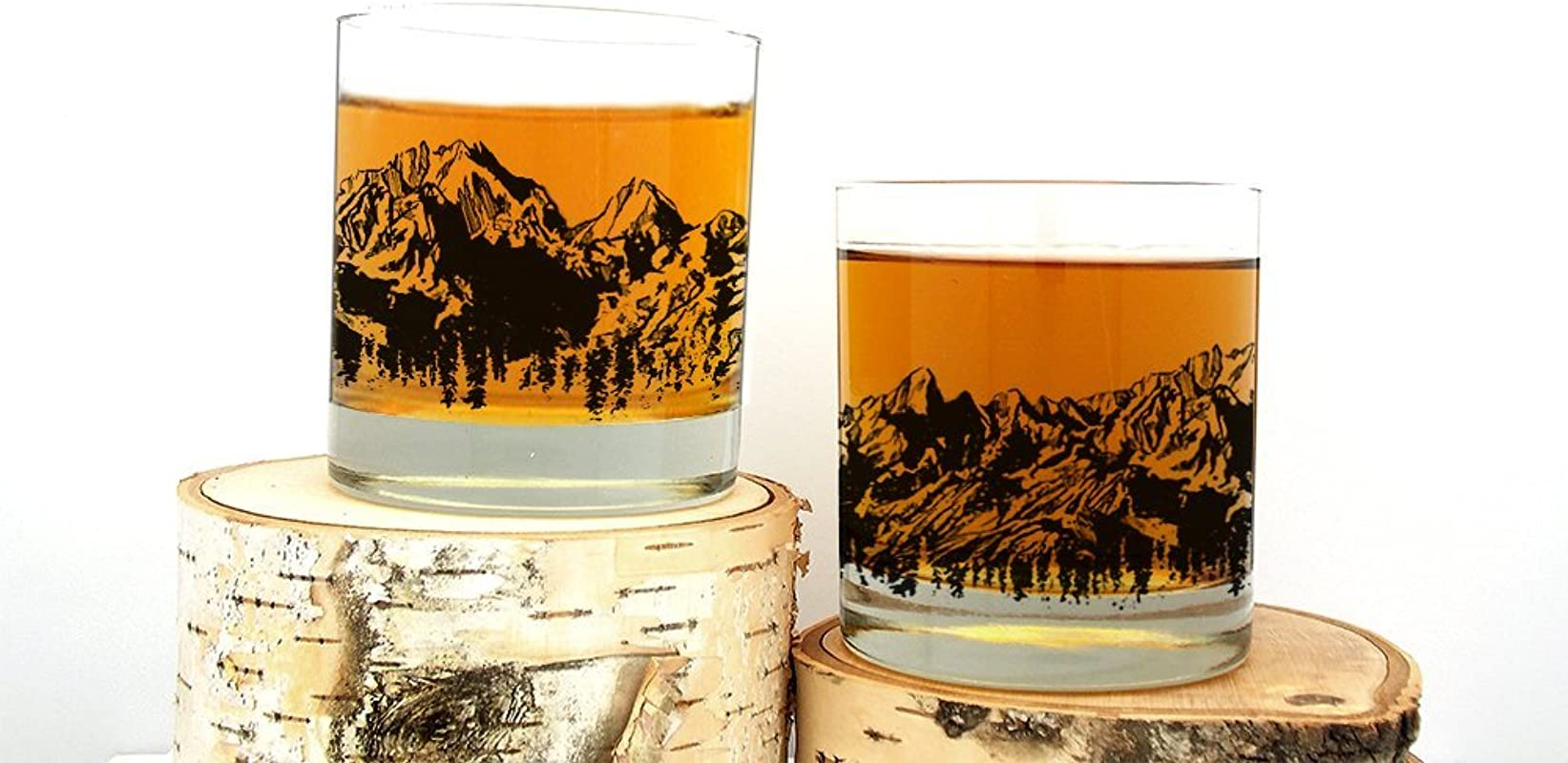 Whiskey Glasses Mountain Range Set Of Two 11oz Tumblers