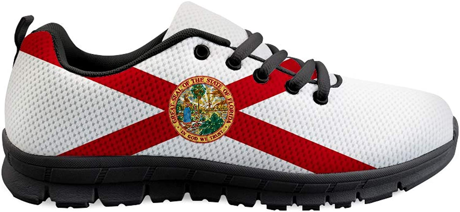 Owaheson Lace-up Sneaker Training shoes Mens Womens Florida Flag