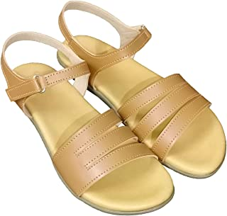 saanvishubh Faux Leather Flat Sandal for Girls and Women