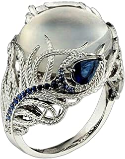winsopee Women Rings, Unique Floral Ring Moonstone Treasure Sapphire Diamond Wedding Band Rings for Valentine's Festival Gifts