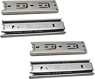BTMB 2 Pair 6 Inch 3 Section Ball Bearing Telescopic Full Extension Drawer Slides Rail for Cabinets Closets (Steel Color)