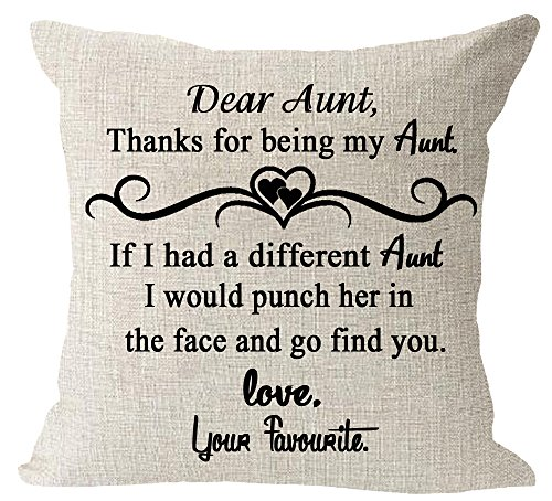 Aunt Gift Thanks for Being My Aunt Quote Cotton Linen Square Throw Waist Pillow Case Decorative Cushion Cover Pillowcase Sofa 18'x 18'