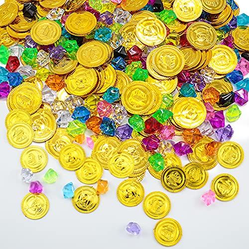 100pcs Pirat Münzen + 50pcs Piraten Edelsteine, Piraten Goldmünzen für Kinder, Piraten Schmucksteine Set, Piraten Schatzsuche Spielmünze Set für Kinder Spiele Geburtstagsdekoration & Partyzubehör