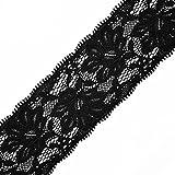 Black Floral Raschel Elastic Lace Trim, 2-3/8 Inch by 1 Yard, STEP-9093