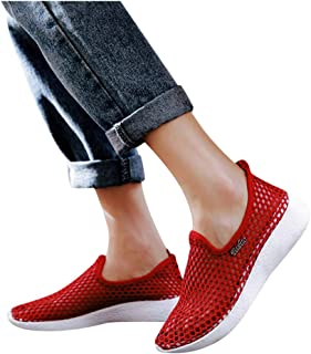 BIBOKAOKE Dames grote maten sneakers schoenen mesh licht strandsandalen sandalen Hollow Out ademende casual platte sandale...