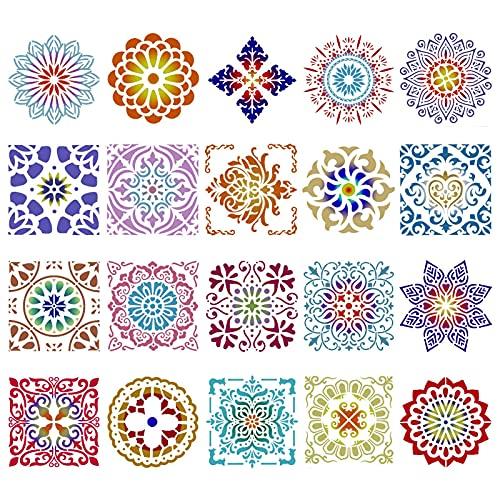 Smilcloud 20 Plantillas de Mandala, Plantillas de Pintura Reutilizables, Moldes de Pintura de Mandala para Manualidades, Plantillas de Inyección de Tinta para Decoración de Paredes (15x15 cm)