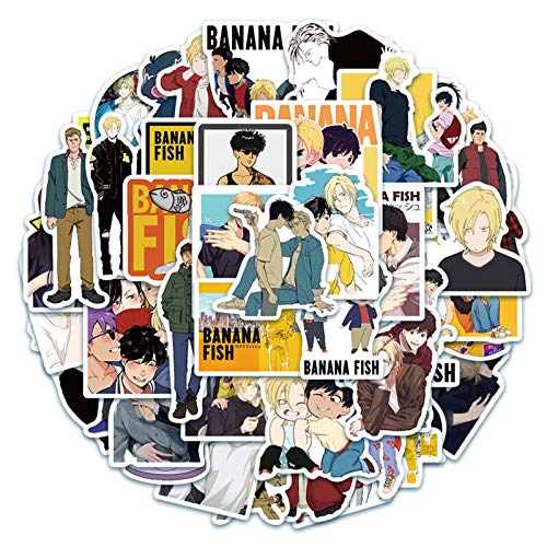 Sweetrro17 50 stk Anime Banana Fish Stickers Wasserdicht Vinyl Aufkleber fr Laptop Notebook Gepck Skateboard