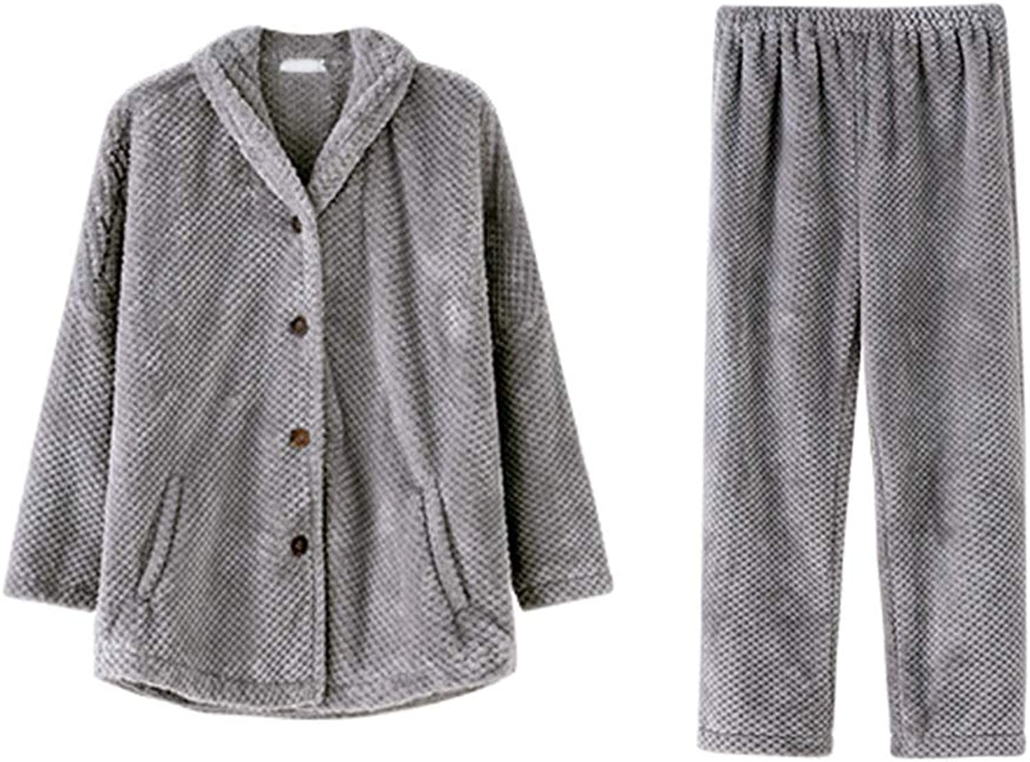 Pajama Sets Pajamas Ladies Autumn and Winter LongSleeved Warm Thick Set Suit Lattice Home Clothes (Size   M)