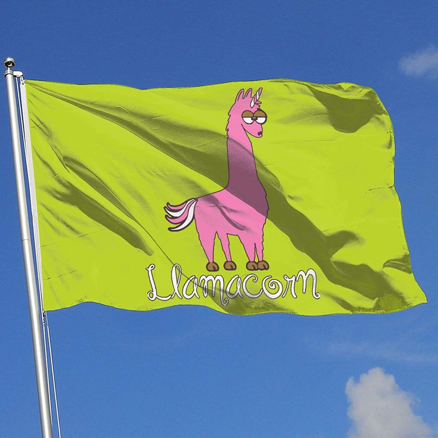 Cute Pink Llama 100% Polyester Single Layer Translucent Flags, Printed 3' X 5' Decorative Banner