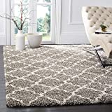 SAFAVIEH Hudson Shag Collection SGH282B Moroccan Trellis Non-Shedding Living Room Bedroom Dining Room Entryway Plush 2-inch Thick Area Rug, 3' x 5', Grey / Ivory
