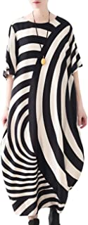 JCT Women Long Loose Maxi Dress Striped Sheer Dress Bat-Wing Sleeve