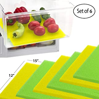 Dualplex Fruit & Veggie Life Extender Liner for Refrigerator Fridge Drawers, 12 X 15 Inches, 6 Pack Includes 3 Yellow 3 Green – Extends The Life of Your Produce Stays Fresh & Prevents Spoilage