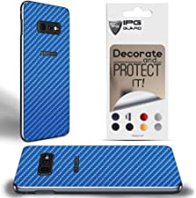 IPG for Samsung Galaxy S10e Decorative Carbon Fiber Vinyl Back Protector Anti Scratch Skin Guard - 3D Surface - Bubble -Free Easy to Install (Blue Carbon Fiber (4D))