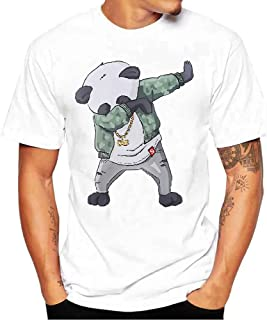 Four Seasons Men's Fashion T-Shirt Cartoon Printed Cotton Blouse Tops