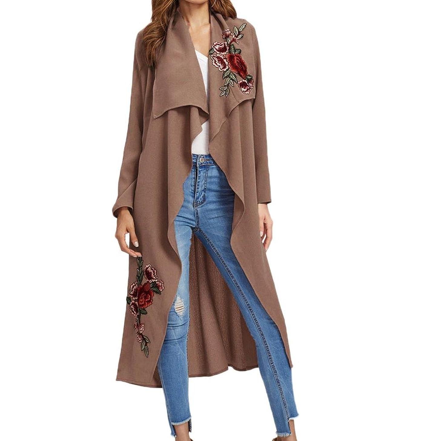 Hemlock Women Long Cardigan Coat, Women's Long Sleeve Shawl Kimono Top Cover up Outwear Jacket (S, Brown)