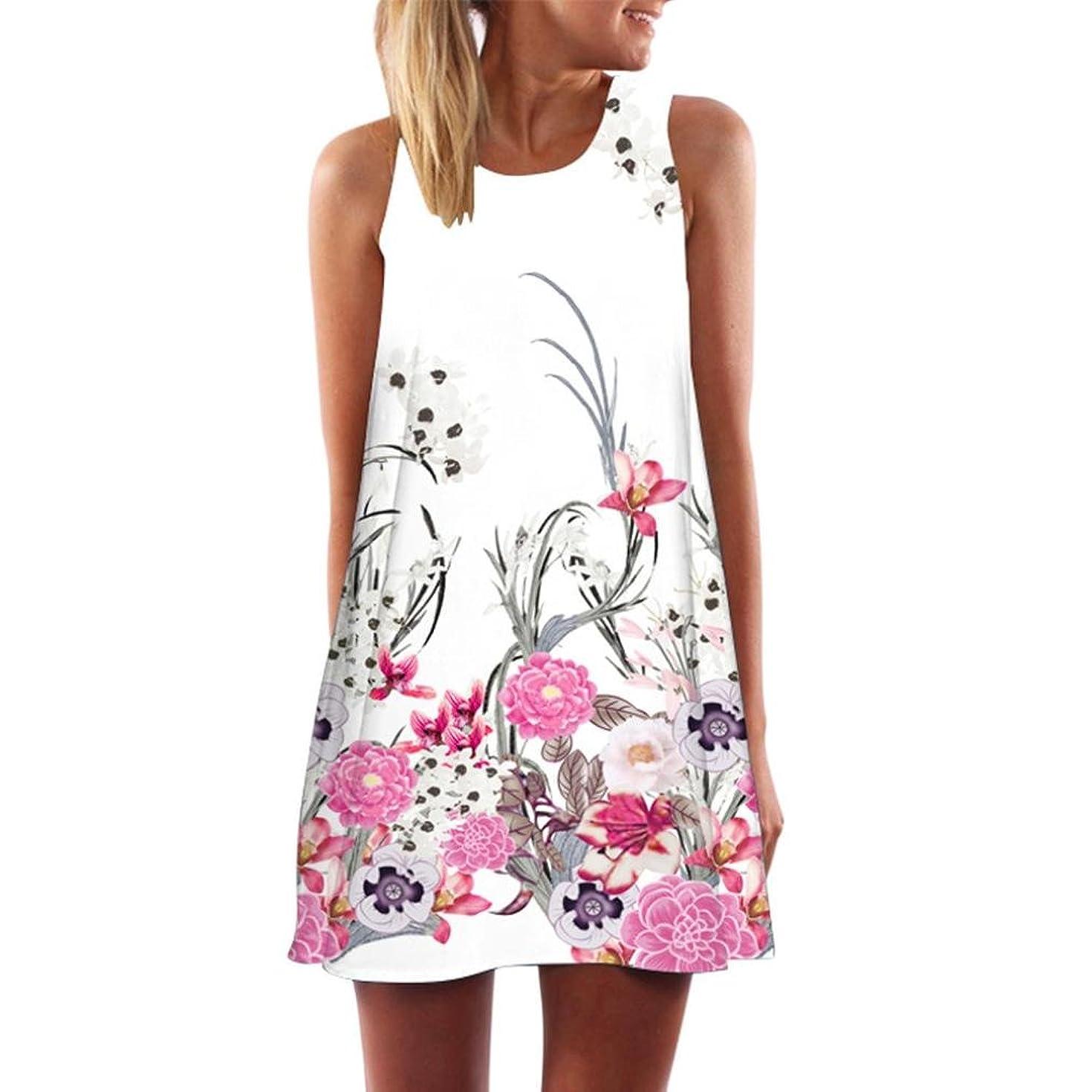 Vintage Boho Women Mini Dress Floral Printing Beach Sundress Summer Sleeveless Short Dress