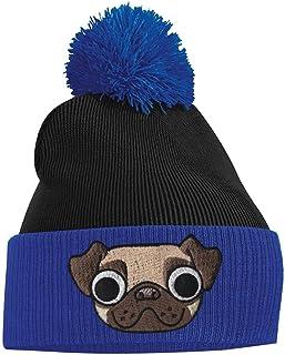 Bang Tidy Clothing Women's Pom Pom - Pug Puppy Dog - Royal Blue and Black