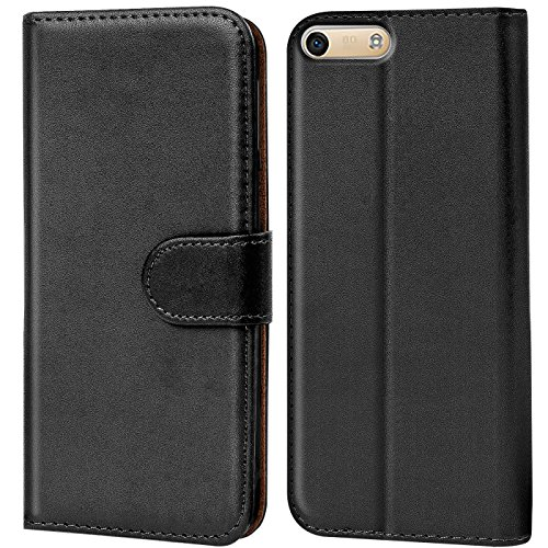 Verco Huawei G6 Hülle, Handyhülle für Huawei Ascend G6 Tasche PU Leder Flip Hülle Brieftasche - Schwarz