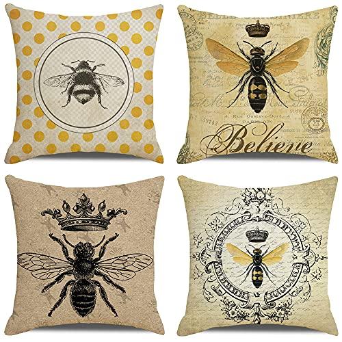 HUASHUZI Set of 4 Cushion Cover Bee Retro Yellow Cotton Linen Thick Durable...