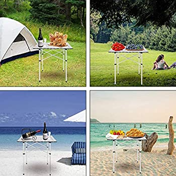 Table Pliante en aluminium Table Pliante de Camping Table de Jardin, Table portable pour pique-nique, fête, camping et repas, 70x70x70cm