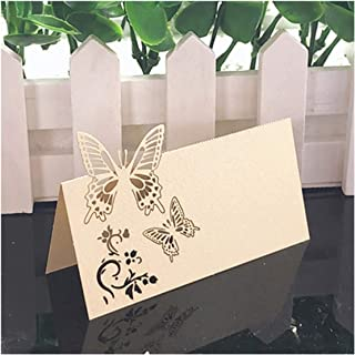 50Pcs 10Colors Table Name Place Cards Bow-Knot Laser Cut Decor Wedding Birthday Party Supplies,Beige,9X9Cm