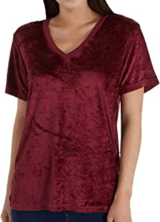 Michael Stars Women's Vali Velvet Short Sleeve V-Neck Slouchy Tee