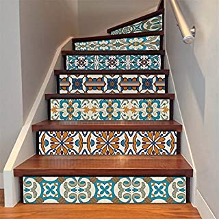 AMAZING WALL AmazingWall Stair Sticker Self Adhesive Tiles Decal 3D Mural Art Home Decoration Peel and Stick 7.1x39.4 6Pcs/Set